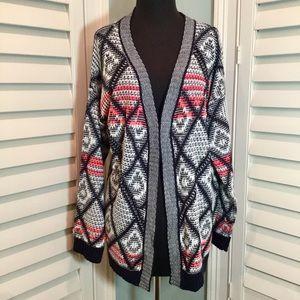 En Creme Navy & Coral Loose Knit Cardigan, M, EUC
